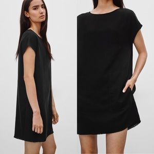 Aritzia WILFRED FREE Nori black denim shift dress